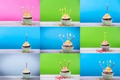 Большой комплект пирожного дня рождения на предпосылке цвета с multicolor свечами Стоковое Изображение