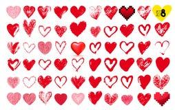 Большой комплект сердец нарисованных рукой Красный цвет стилизованное свободной руки элементов чертежа естественное также вектор  Стоковое Изображение
