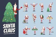 Большой комплект смешного шаржа Санта Клауса в различных острокомедийных представлениях Стоковые Изображения