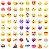 Большой комплект современного Emojis иллюстрация вектора
