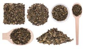 Большой комплект сухой улитки Bilochun зеленого чая изолированной на белой предпосылке Стоковая Фотография