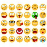 Большой комплект улыбок, смайликов и emojis вектора в minimalistic иллюстрация штока
