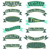 Большой комплект Eco, естественные стикеры и ленты, изолированные на белой предпосылке иллюстрация вектора