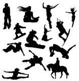 большой комплект silhouettes вектор спортов Стоковое Изображение RF