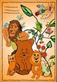 Большой лев, маленький новичок льва, кот и лиса, лес хворостин птицы стоковые изображения