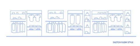 Большой магазин моды не опорожняет никто торгового центра одежд супермаркета стиль подачи эскиза женского внутренний горизонтальн бесплатная иллюстрация