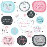 Большой набор вектора фраз рождества, декоративных элементов и fra стоковые фото