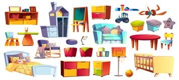 Большой набор детей мебели и игрушек иллюстрация вектора