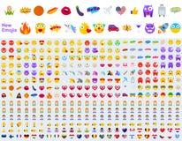 Большой набор нового современного Emojis иллюстрация штока