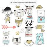 Большой набор различных животных мультфильма Милые handdrawn дети закрепляют коллекцию произведений искусства также вектор иллюст бесплатная иллюстрация