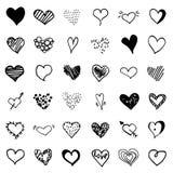 Большой набор сердца doodle вектора бесплатная иллюстрация