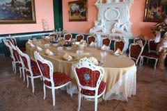 большой обед dishes пустая овальная таблица Стоковое Изображение