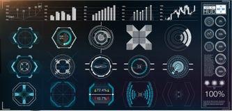 Большой пакет аппаратур элементов, графиков, дисплеев, сетноых-аналогов и цифровых hud, масштабов радиолокатора Абстрактное HUD иллюстрация вектора