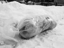 Большой пакет отброса лежит право на дорога против фона снега в зиме стоковые фото