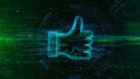 Большой палец руки как концепция hologram символа иллюстрация штока