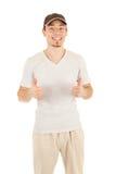 большой пец руки знака вверх по работнику Стоковая Фотография