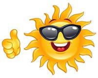 большой пец руки солнца вверх иллюстрация вектора