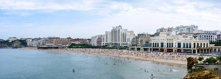 Большой пляж Биаррица во Франции стоковые изображения rf