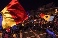 Большой протест в Румынии Стоковое Фото