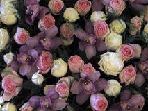 Большой пук цветков, розовых роз и орхидей стоковое фото rf