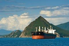 Большой судно-сухогруз стоит в roadstead против фона гористого побережья Стоковые Фото