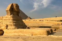 большой сфинкс египетский сфинкс Седьмой интерес мира Старые мегалиты Стоковая Фотография