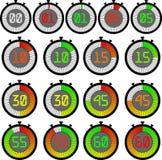 Большой установленный электронный секундомер со шкалой градиента начиная с красным или зеленым 00, 01, 05, 10, 15, 30, 45, 55, 60 иллюстрация штока