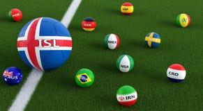 Большой футбольный мяч в цветах Icelands национальных окруженный более малыми футбольными мячами в других национальных цветах Стоковые Изображения