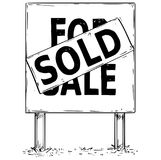 Большой чертеж доски знака с для продажи проданным текстом Стоковые Фотографии RF