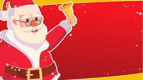 Большой шаблон знамени продажи рождества с счастливым Санта Клаусом вектор Объявление продажи праздников Реклама дела Стоковая Фотография