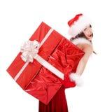 большой шлем santa девушки подарка рождества коробки Стоковые Изображения RF