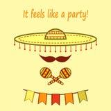 """Большой mariachi шляпы с усиком, maracas и бумажными флагами с фразой """"она чувствует как партия """" иллюстрация штока"""