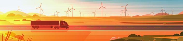 Большой Semi трейлер тележки управляя на дороге над знаменем ландшафта захода солнца природы горизонтальным иллюстрация штока