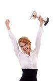 больш ее показывая трофей Стоковое Фото