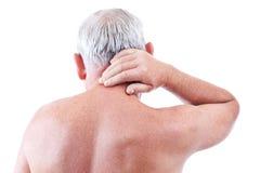 боль шеи человека стоковое изображение