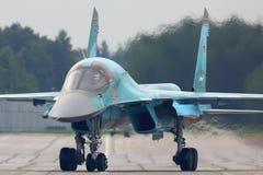 Бомбардировщик Sukhoi Su-34 на авиационной базе ВВС во время форума Army-2015, области Kubinka Москвы, России Стоковое фото RF