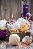 Бомба ванны персика и продукты КУРОРТА Стоковые Изображения RF