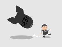 Бомба задолженности беглеца бизнесмена Концепция конспекта персонажа из мультфильма иллюстрации вектора Doodle Стоковое фото RF
