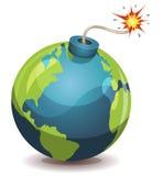 Бомба планеты земли предупреждающая Стоковые Фото