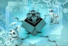 бомба сюрприза кролика 3d большая в иллюстрации коробки Стоковые Изображения RF