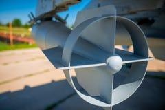 Бомбы авиации Empennage на воинском бомбардировщике Стоковое Изображение