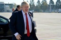 Борис Джонсон, госсекретарь с его книгой, фактором Черчилля стоковая фотография rf