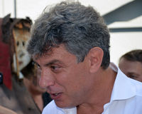 Борис Yefimovich Nemtsov Прощальная церемония с v Стоковая Фотография