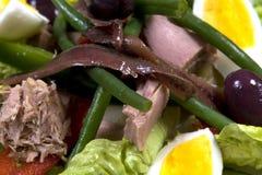 бормотушк черноты фасолей камс одевая vinaigrette туны томатов салата картошек оливок nicoise мустарда зеленого цвета виноградины Стоковые Изображения