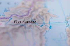 Борнео на карте Стоковые Фото
