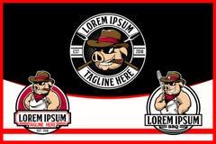 Боров ковбоя или мультфильм свиньи для шаблона логотипа вектора BBQ иллюстрация штока