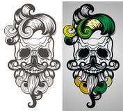 Бородатая иллюстрация черепа Стоковые Изображения