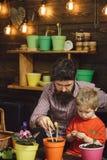 Бородатая природа любов ребенка человека и мальчика m t счастливые садовники с цветком весны Забота цветка стоковая фотография