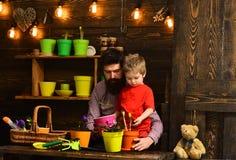 Бородатая природа любов ребенка человека и мальчика r r счастливые садовники с цветками весны E стоковая фотография rf