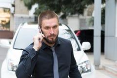 Бородатый бизнесмен человека говоря на телефоне стоковые изображения